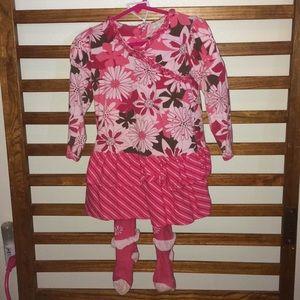 Girls Pink Floral LS Cotton Dress w tights 3T